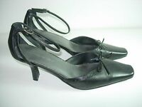WOMENS BLACK LEATHER ANKLE STRAP COMFORT CAREER HEELS PUMPS SHOES SIZE 8.5 M