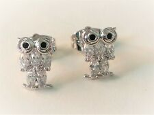 Earrings Owls Body of Zircons Oval with Gold White 18 Kgf Gold Filled