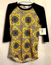LuLaRoe Randy Baseball Tee XS Gray/Yellow Floral Body/Solid Black Sleeves (ZC)