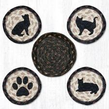PORCH CAT 100% Natural Braided Jute Coaster Set of 4 with Jute Basket
