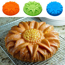 New listing Large Round Flat Sunflower Silicone Cake Mould Pan Baking Tool Cookie Mold New