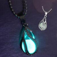 Womens The Little Mermaid's Teardrop Glow in the Dark Pendant Necklace Jewelry