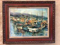 GRACE KAIULANI SPILMAN Vintage Hawaiian Oil Painting signed 1969 Carved Frame