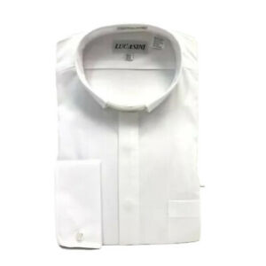 Lucasini Men's Clergy Shirt White and White Tab Collar French Cuffs Size 16.5