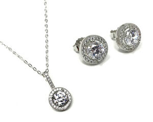 Micro Set Cubic Zirconia Halo Pendant Necklace & Stud Earrings - Sterling Silver