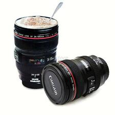 Black Travel Mug Cup Coffee Tea 24-105mm Stainless Camera Lens Cup