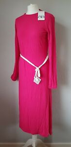 ZARA woman's pink ribbed asymmetric midi dress size uk10/M BNWT