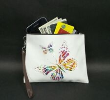Wristlet Wallet Butterfly Hearts White Faux Leather Vegan Evening Clutch Purse