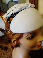 Vintage 1920s/40s Designer Ivory Felt w/ Rhinestone Trim Hat