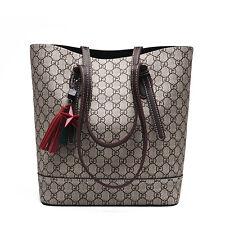 Grau Damentasche Leder Shopper Bucket Bag Handtasche Schultertasche Tragetasche