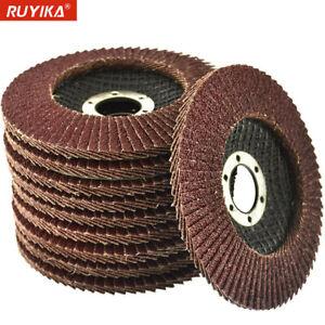 12x 115 125mm Angle Grinder Flap Discs 40 60 80 120 Grit Grinding Sanding Wheel