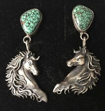 Signed Running Bear Native American Sterling Silver &Turquoise Horse Earrings RB