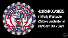 4 x WESTERN BULLDOGS 2016 PREMIERS FOOTBALL AUSSIE RULES, DRINK COASTERS