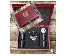 Superman Inspired Flask Set Wood Box Groomsman Best Man Gift Engraved Flask