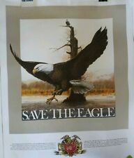 Vintage Ralph J. McDonald Poster 'Save The Eagle' Miller Brewing Co 1980s