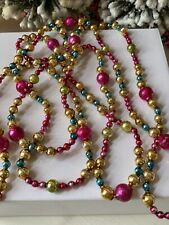 Lovely Vintage Mercury Glass Christmas Tree Garland ~ 98� Nostalgic Glass Beads