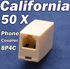 White 10 pc Modular Telephone Inline DoubleJack Coupler Adapter RJ11-4C6P