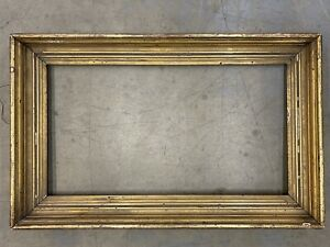 Antique Early 19th C Gold Gilt & Gesso Frame (18 1/4 x 33 1/4 interior) Giltwood