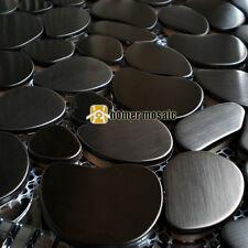 pebbel black color stainless steel metal mosaic tiles kitchen backsplash tile