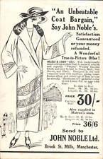 Manchester. John Noble, Brook Street Mills Coat Advert.