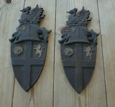 More details for two vintage metal iron heraldic wall plaques. made by nestor
