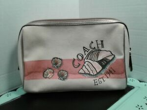 COACH Seashell Cosmetic Case Beach Theme MultiColor Canvas Makeup Bag