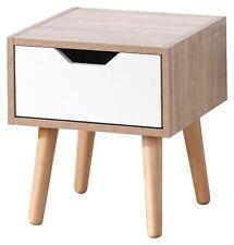 DESIGNER Bedside Cabinet 1 Drawer Oak Veneer Bedroom Furniture Solid Wood Legs