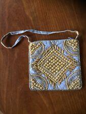 Light Grey Blue Zoebe Beaded Embroidered Flat Handbag  NWOT