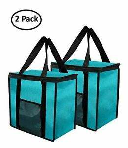 Large Insulated Grocery Bag Collapsible Heavy Duty Nylon - Blue ( Set of 2 )