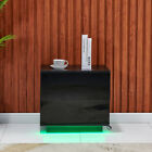Bedside+Table+Nightstand+Cabinet+High+Gloss+2+Drawers+w%2F+LED+Light+Bedroom+Black