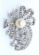 BROOCH Silver Diamante with Pearl  Fashion Brooch for Wedding Brooch Bouquet