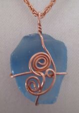 "Recycled Blue Sea Glass New Necklace Artisan Hand Wired Copper 16-1/4"" Chain NEW"