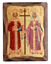 St. Constantine the Great & St. Helen Gold Leaf Canvas Natural Wood Icon