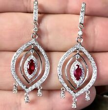 SIAMESE 2.27TCW Ruby Diamonds 18K solid white gold chandelier Earrings Natural