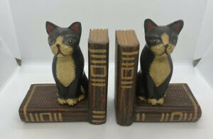 Hand Carved and Painted Wooden Cat Bookends Folk Art  Boho Decor