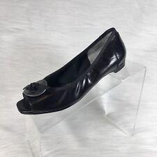 Ros Hommorson Ballet Flats Open Toe  Black Leather Bow Size 6. 5 M