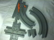 1 Switch + 1 Curved + 1 End + 4-Way Gray Road Track to Fisher Price Geo Trax Set
