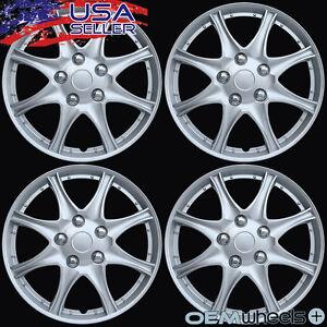 "4 New OEM Silver 16"" Hubcaps Fits Saturn SUV Car Minivan Center Wheel Cover Set"