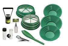 "11pc Green Large Gold 1/2"" & 1/8"" Classifier Screen & Gold Pan Panning Kit"