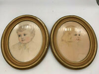 Beautiful 2pc Antique Framed Etching Engraving of Young Gril and Boy  in Framed