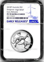 2018 P Australia HIGH RELIEF 1oz Silver Kangaroo $1 Coin NGC PF70 UC ER + OGP