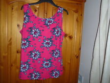 1 Dark pink  and multi floral pattern sleeveless hip length top, GEORGE, size 16
