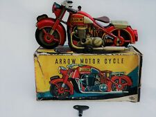 Mitsuhashi Arrow Motorcycle Clockwork Japan Tin Toy Blechspielzeug Boxed