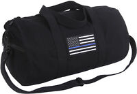 "Black Heavy Canvas Gym Travel Shoulder Duffle Bag with Thin Blue Line 19"" x 9"""