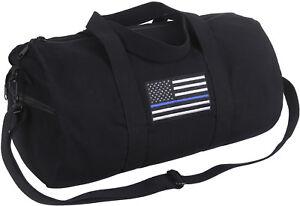 "Black Heavy Canvas Gym Travel Shoulder Duffle Bag with Thin Blue Line 19"" x 9"""