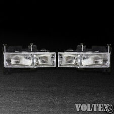 1999-2002 GMC C3500 K3500 K1500 Headlight Lamp Set of 2 Clear lens Full Size