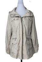 Michael Kors Womens Large Jacket Water Resistant Hooded Raincoat Sand Beige New