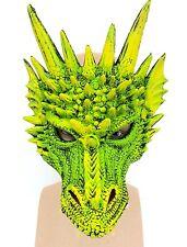 Superbe de Luxe Vert Dragon Masque Latex Cosplay Déguisement Halloween Jeu Rôle