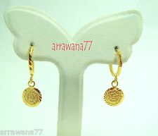 Coin 22K 23K 24K Thai Baht YELLOW GOLD GP EARRINGS Hoop E India Jewelry