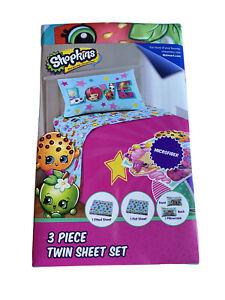 Shopkins Twin Size Bed Sheet Set 3 Piece Kids Bedding Microfiber Sheets